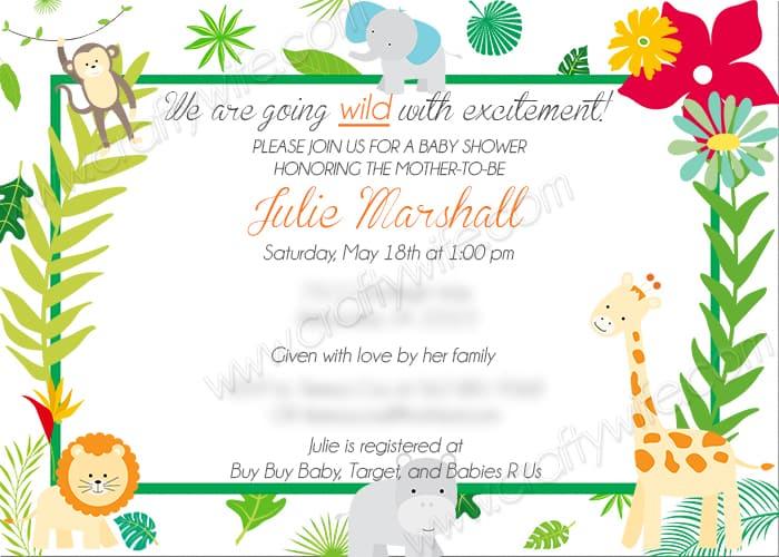 girly jungle invite