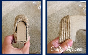 Wrapping the jute around the letter C