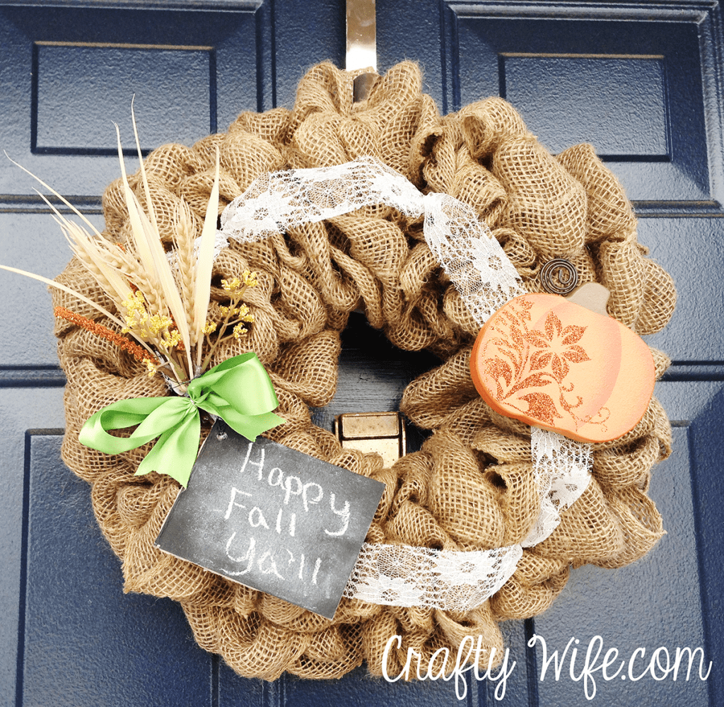 frontal view of harvest wreath