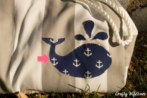 hand stitch on the whale applique