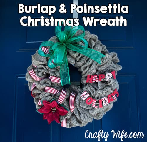 Burlap and Poinsettia Christmas Wreath by Crafty Wife