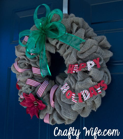Burlap & Poinsettia Christmas Wreath