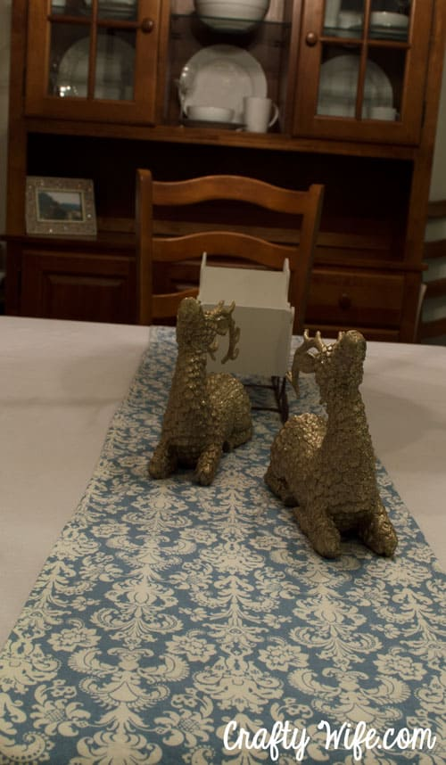 Damask table runner from Crafty Wife