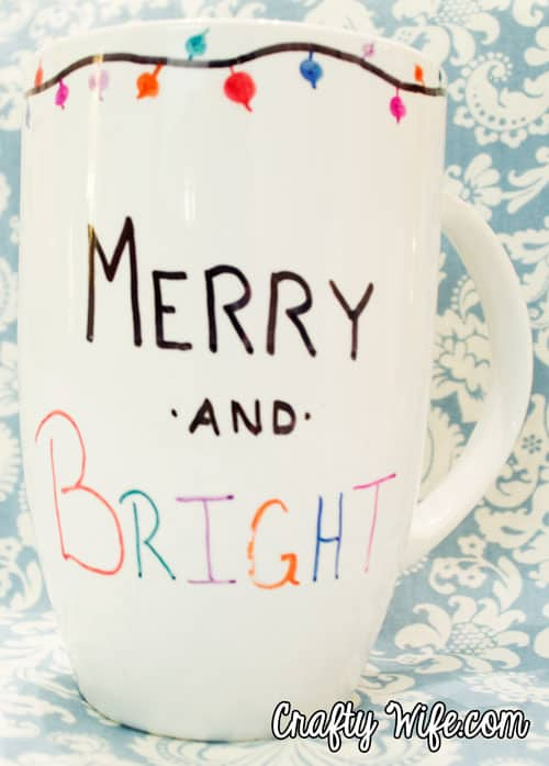 Hand Drawn Merry and Bright mug from Crafty Wife