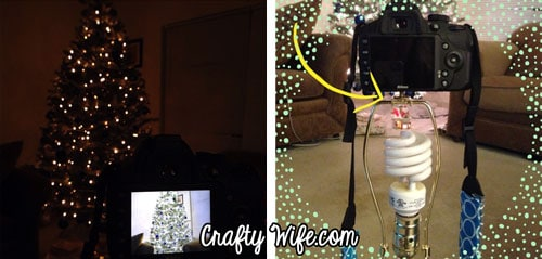 Use a lamp as a tripod to take pictures of your Christmas tree