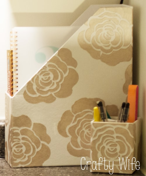 Stenciled Magazine and Pencil Holder from Crafty Wife