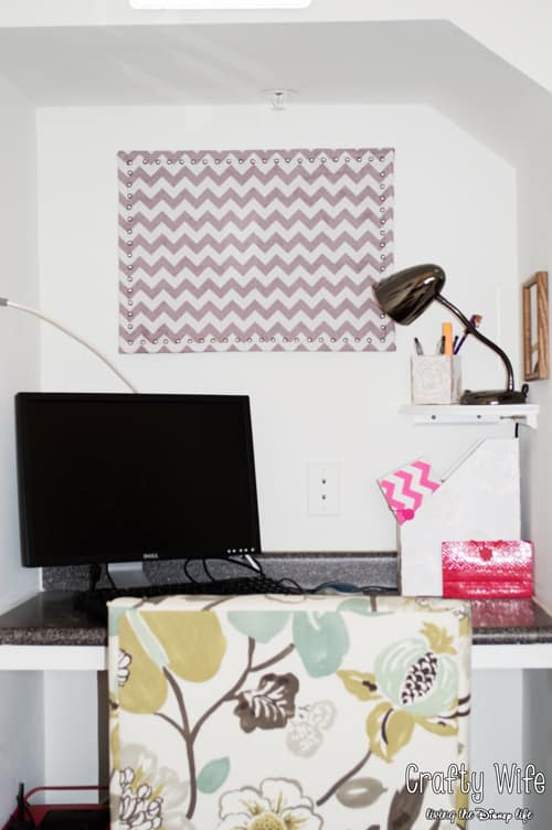 Fabric Covered Corkboard by Crafty Wife