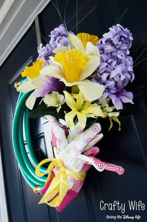 Colorful Garden Hose Wreath from Crafty Wife