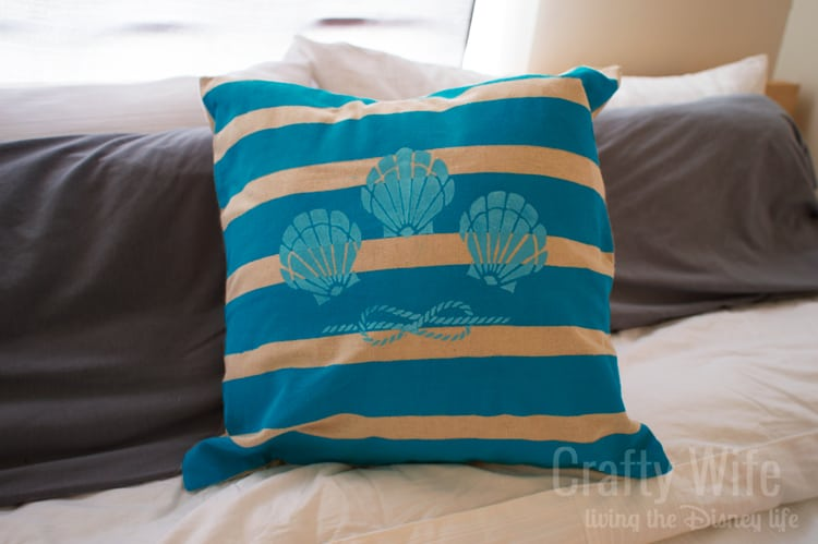 Stenciled-Fabric-Pillow-with-Sheashells