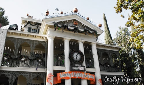 The Haunted Mansion all decked out as The Nightmare Before Christmas