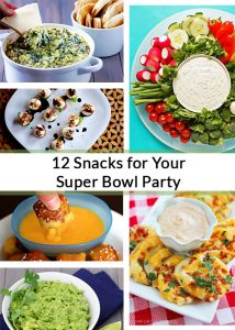 A roundup of 12 recipes for your super bowl party. A great mix of healthy and deliciously evil snacks that you'll enjoy whether you're into the game or not!