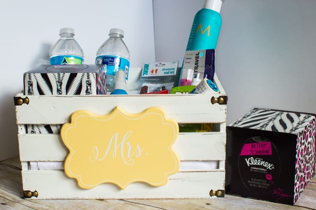 Create a fun wedding care package for the bride-to-be with Betsey Kleenex Style Tissues and other day of essentials that every bride needs on her big day. #ad #KleenexStyle