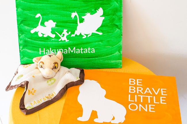 To match a safari themed nursery, I pulled out my silhouette and customized items from the Disney Baby Lion King collection at @Walmart. #ad #magicbabymoments
