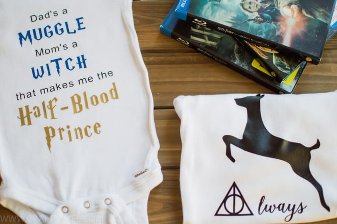 Make your own Harry Potter inspired onesies for a new baby whose parents are obsessed with HP! What a great way to honor your favorite Hogwarts Professor and pass on that love to the next generation.