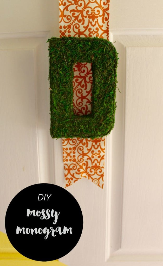 Decorate your front door and get it ready for the Fall with an easy moss monogram letter diy! Dress it up with ribbon or hang it by itself, no matter what it'll look great!