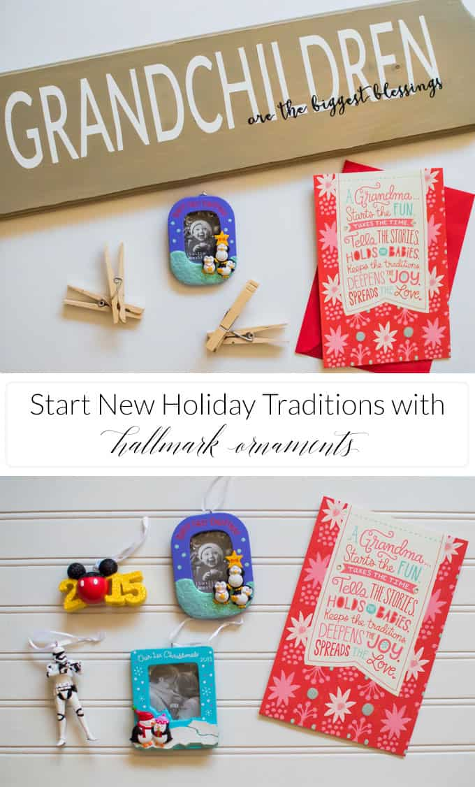 Every year my parents would give us Hallmark Ornaments on Christmas Eve. This year I'm turning it around and giving my parents a Hallmark Ornament from their Grandchild, and made a cute plaque display with my Silhouette Portrait for them to show off their gift!  #SendHallmark [ad]