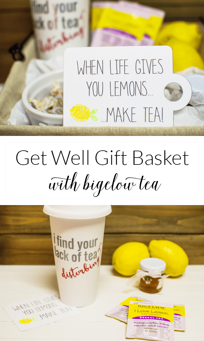 Brighten someone's day and send them off to work armed with Bigelow tea & other goodies to keep them healthy and happy during cold & flu season.  Make your own gift basket and download a free SVG file!  #meandmytea #ad