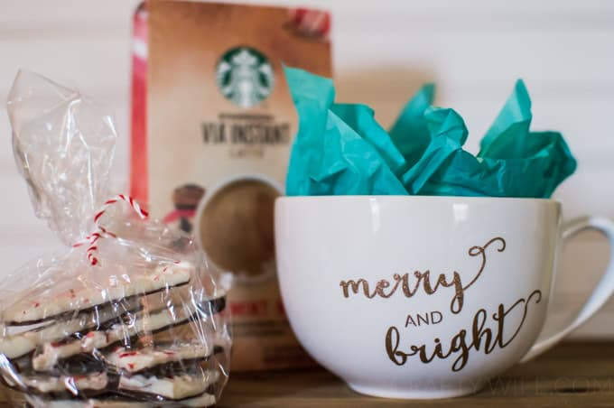 Make a sweet & simple hostess gift to bring with you to a holiday party that will be used and loved for years to come! This DIY mug is so easy and pairs perfectly with your favorite hot cup of joe.
