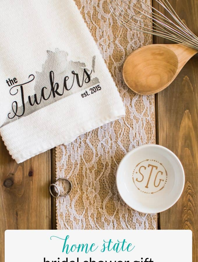 Make a Bridal Shower gift that any sweet Southerner would love! Use their home state to make a personalized dish towel to display and use in their kitchen!