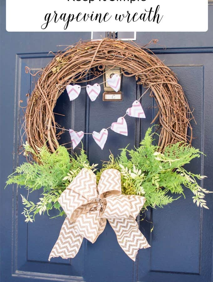 Use a grapevine wreath to decorate your front door for the upcoming seasons but using items that can easily be changed out for the holidays.