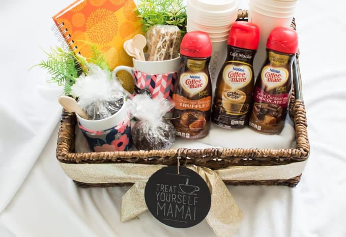 Make a coffee lovers gift basket to give to a new mommy so she can treat herself to a few moments of alone time to jump start her day. #sipindulgence #ad