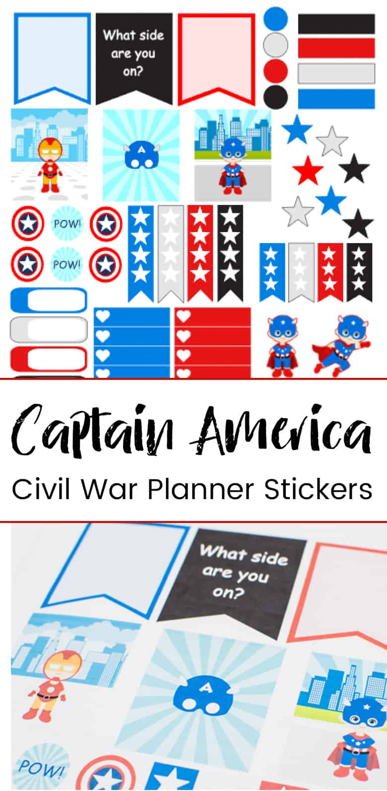 Print and cut your own Captain America planner stickers & deck out your Erin Condren Life Planner just in time for the new movie, Captain America Civil War!