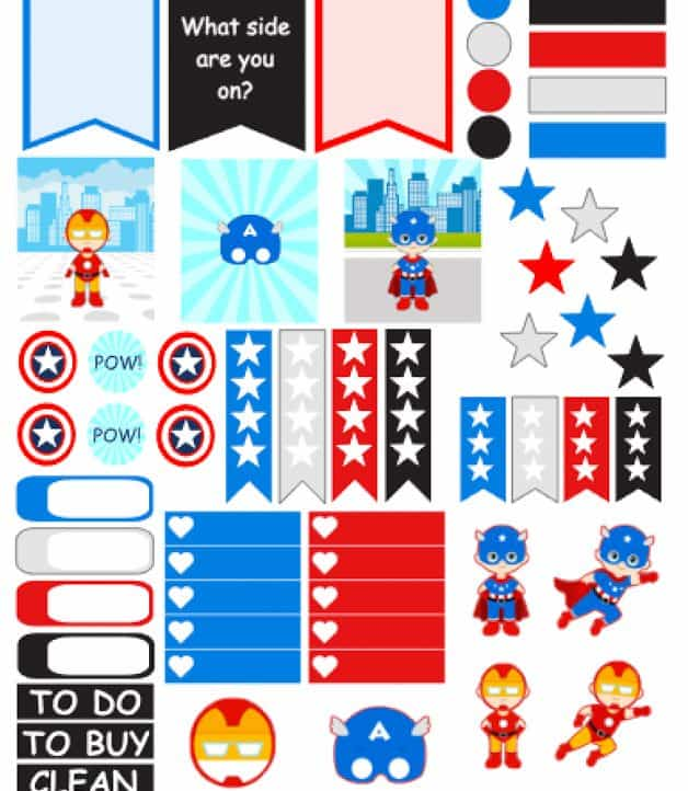 Captain America Planner Stickers