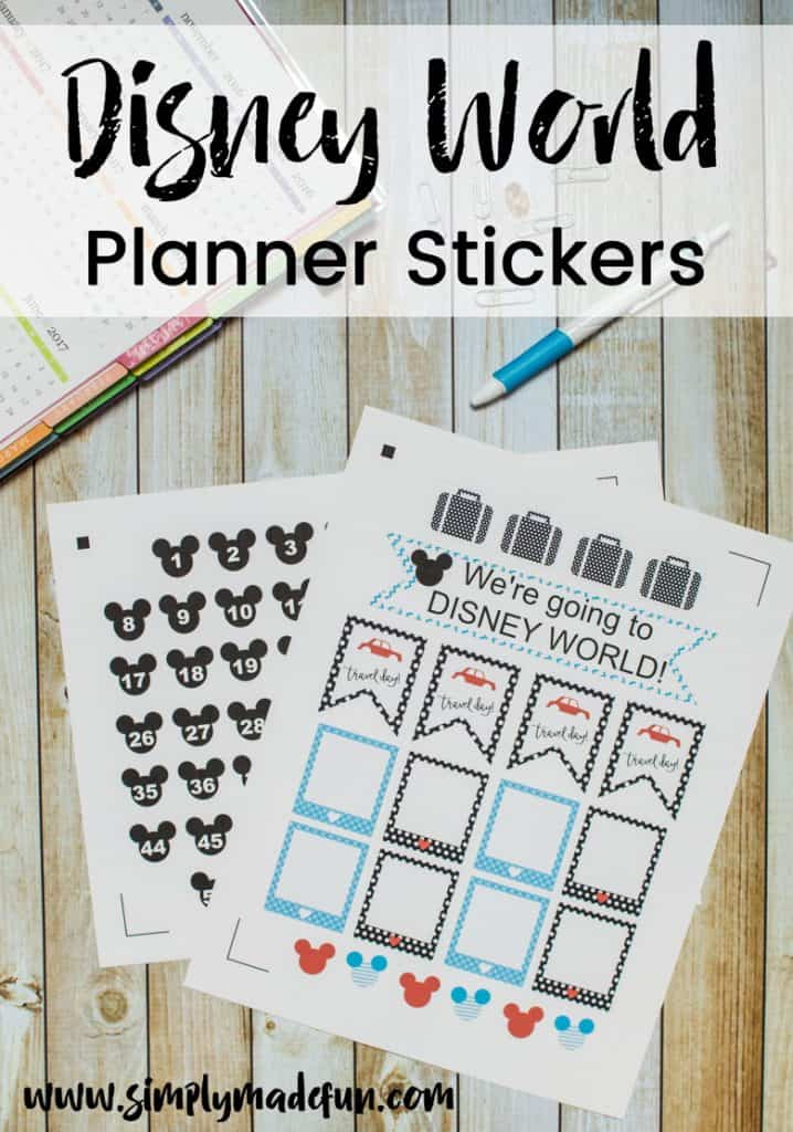 Use the print and cut method with your Silhouette machine to make Disney World Planner Stickers for your Erin Condren Vertical Planner.