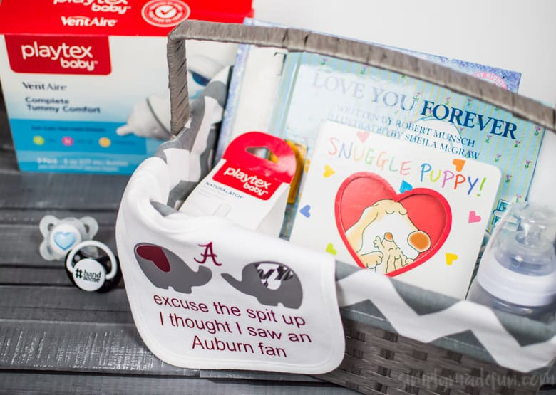 Make a cute football themed bib for the new dad in your life with your Silhouette machine and include it in a new dad gift basket! #MomsHelper #ad