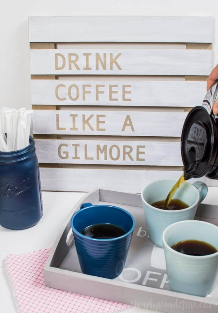 Decorate your coffee bar with Gilmore-inspired artwork using your Silhouette machine and a FREE SVG file to make the Gilmore Girls Coffee Sign.