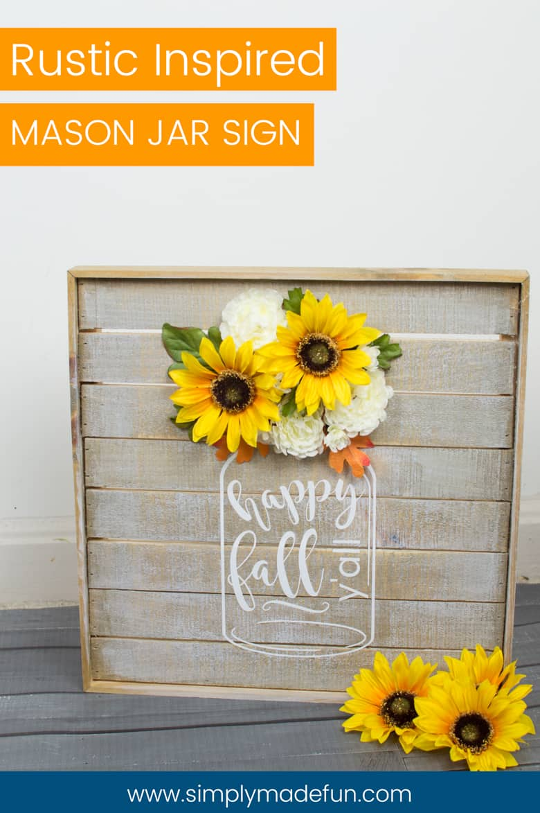 Mason Jar Sign - Mason Jars, Wood pallets, and farmhouse decor, OH MY! I love adding a touch of rustic to our home and this easy vinyl sign adds a bit of charm to our somewhat modern style. You can make one too with the free file on the blog!