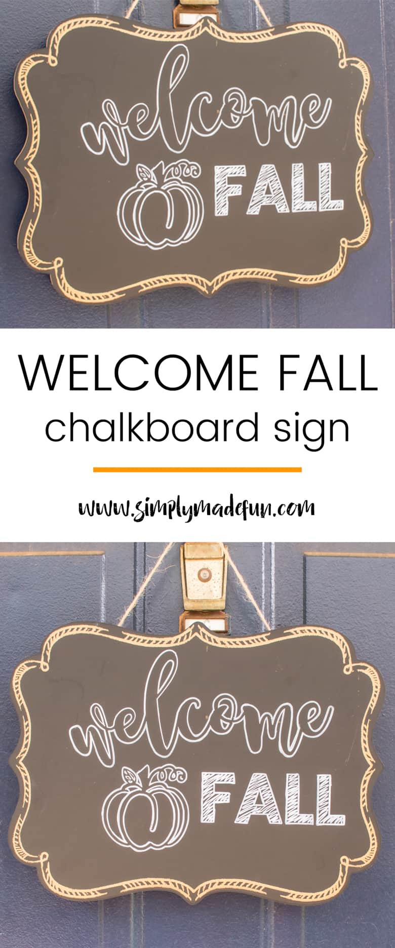 Welcome in the season with a stylish design and easily make your own welcome Fall wreath with a Silhouette machine and a chalk pen!