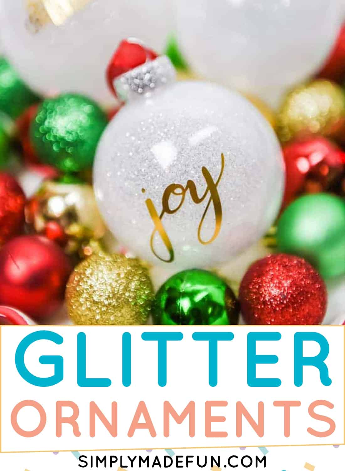 Easy glitter ornaments with vinyl