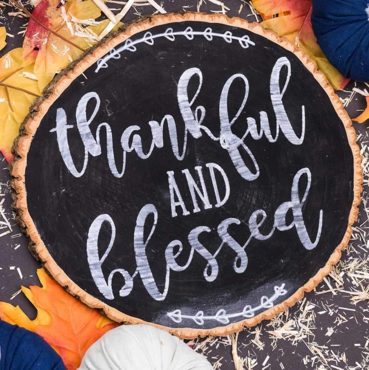 Thanksgiving Chalkboard Wooden Sign