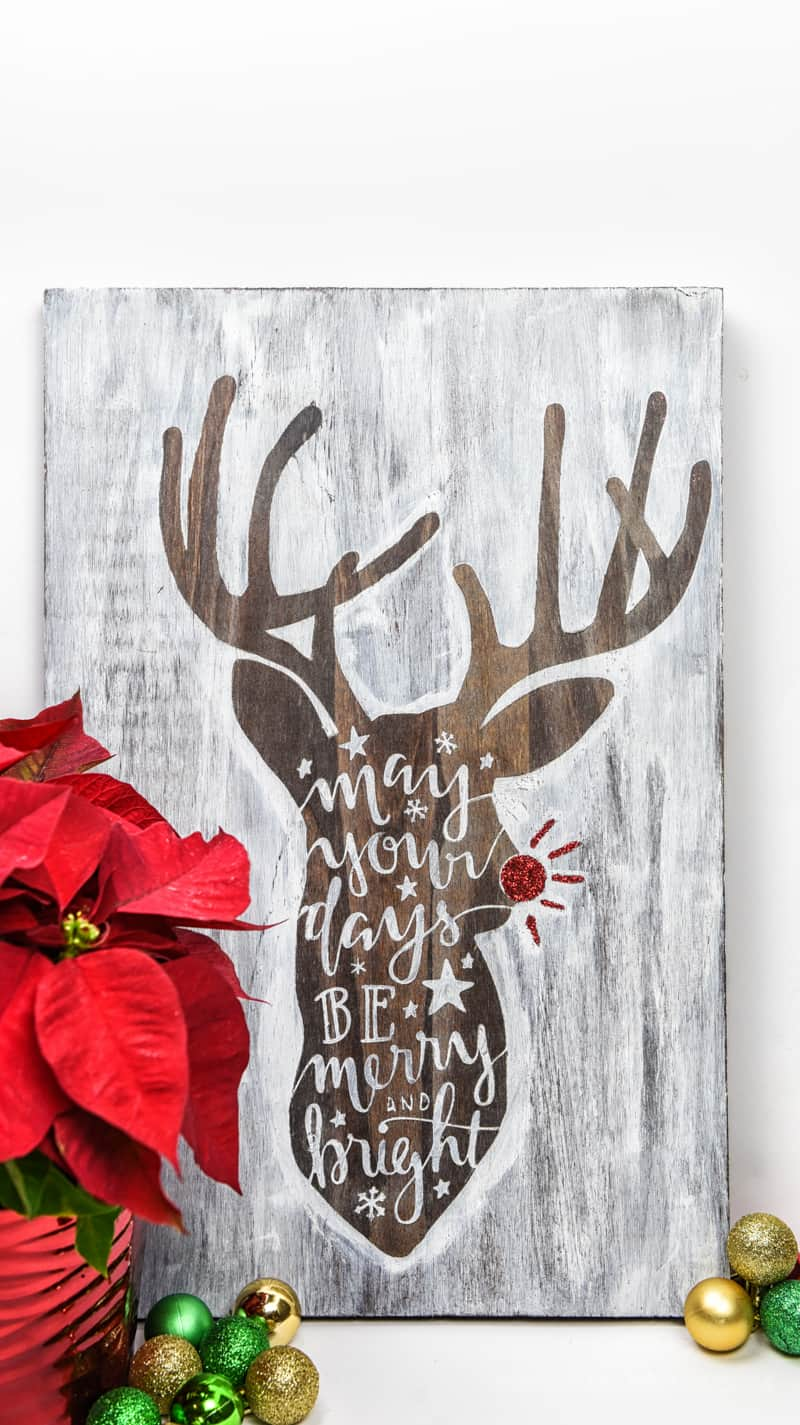 Hand Lettered Rudolph Craft | Christmas Ideas | Christmas Crafts | Christmas DIY | Vinyl Crafts