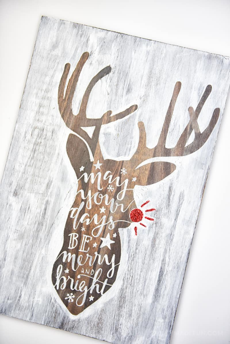 Hand Lettered reindeer sign