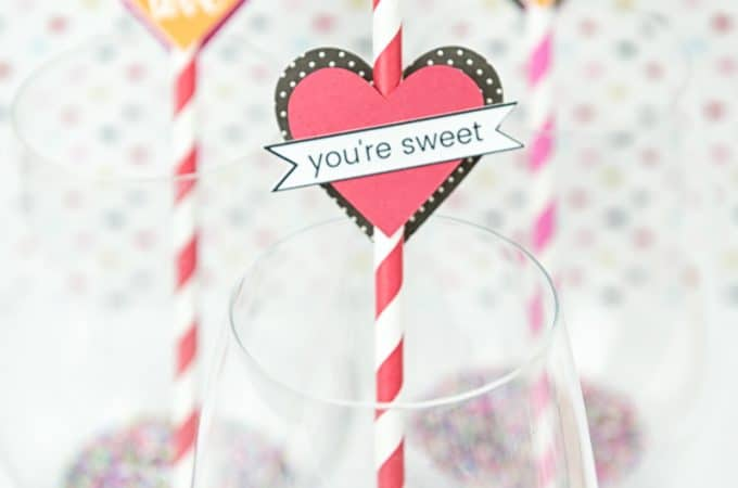 Heart Straw Toppers | Valentine's Day Crafts | Paper Crafts | Silhouette Portrait Crafts | Valentine's Day Tablescape | Holiday Decorations