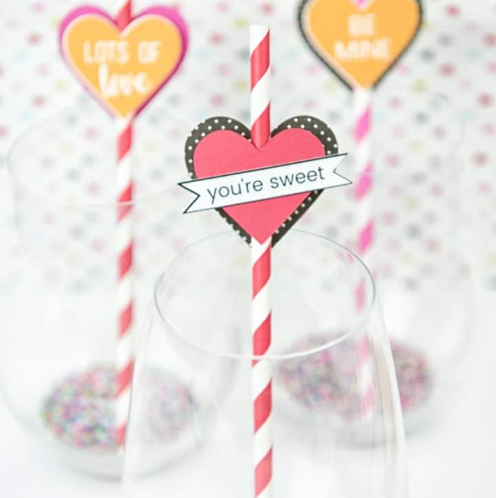 DIY Valentine Paper Heart Straw Toppers