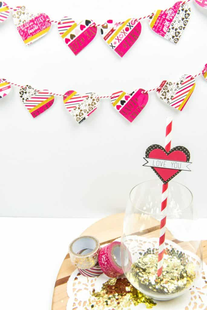 Washi Tape Heart Garland | Valentine's Day Craft | Holiday Crafts | Holiday Decor | Washi Tape Crafts | Washi Tape | Paper Crafts