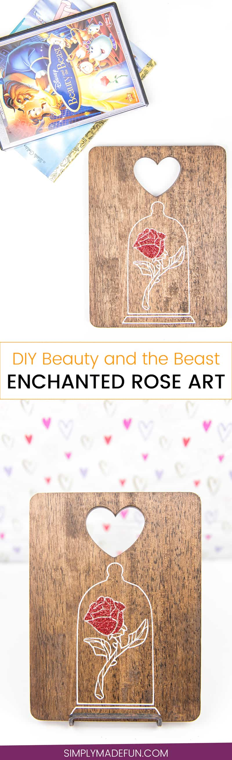 Beauty and the Beast Enchanted Rose Art   Disney Crafts   Silhouette Cameo Crafts   Vinyl Crafts   Beauty and the Beast   Belle Crafts