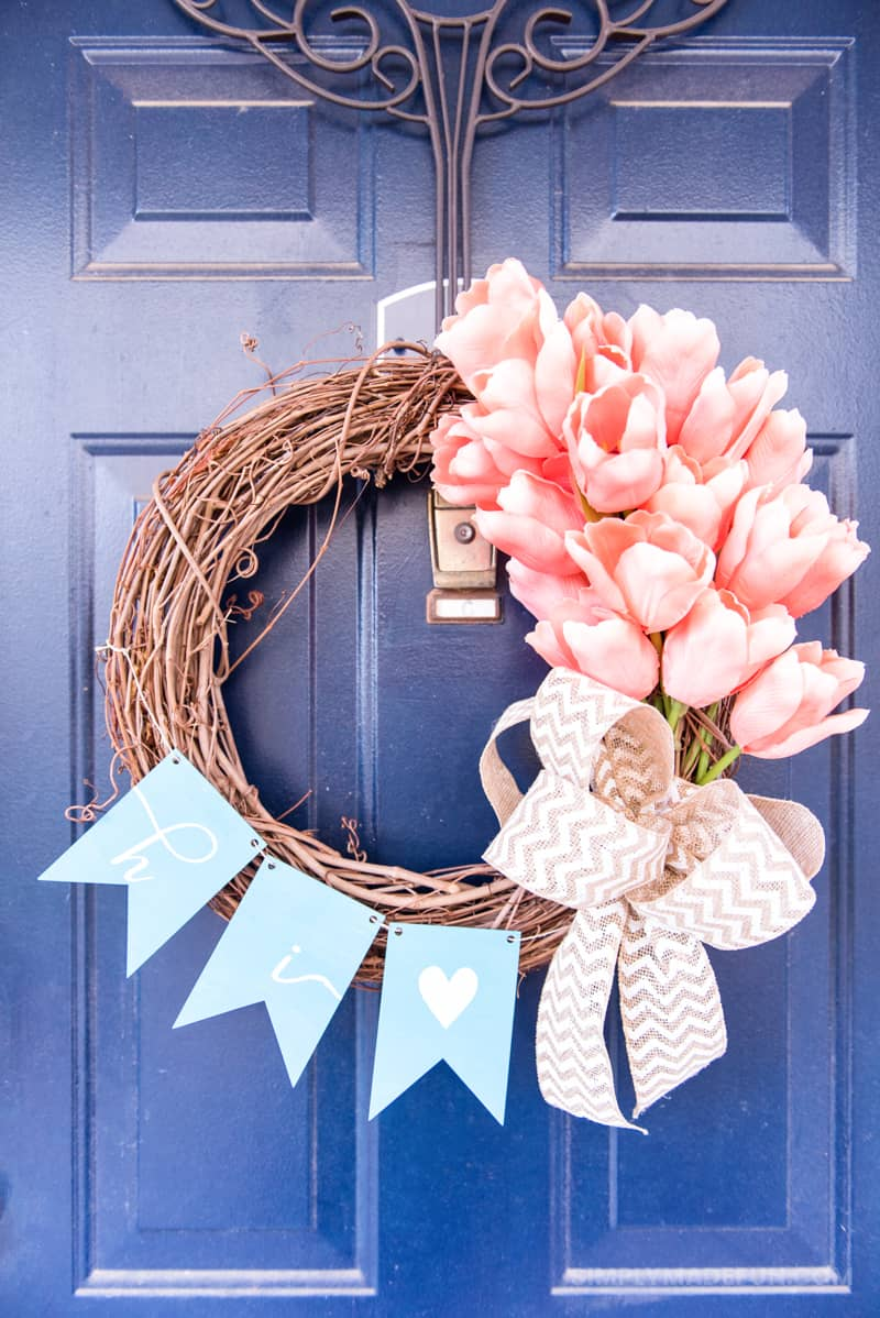 Easy Spring Tulip Wreath | Spring Wreath | Wreath | DIY | Home Decor | Spring Wreath | Grapevine Wreath | Tutorial | Spring Wreath Tutorial