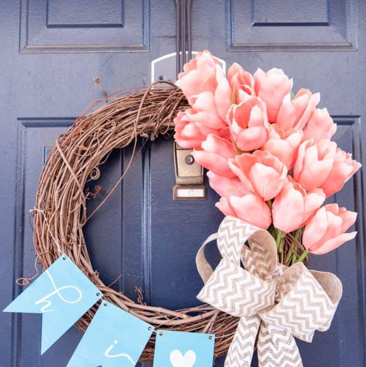 Easy Spring Tulip Wreath For Your Front Door