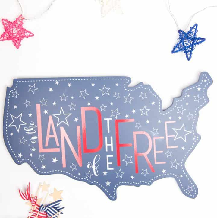 Land of the free decor   4th of July crafts   4th of July decor   4th of July decorations   Silhouette Crafts   Silhouette Vinyl Crafts   Vinyl Crafts   4th of July Crafts DIY