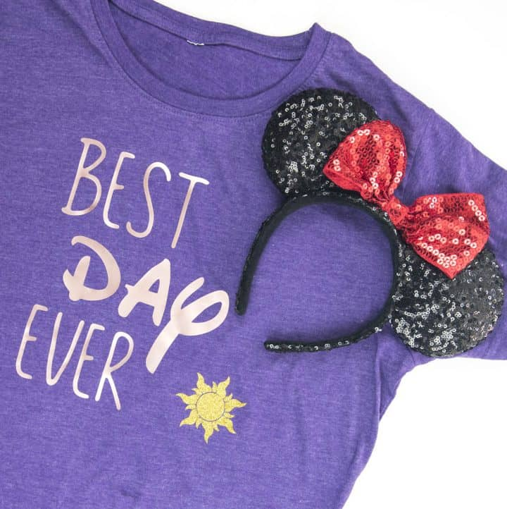 Custom Disney Shirts - These funny shirts are perfect for any beginner Silhouette or Cricut user to DIY in 30 minutes! Sparkly vinyl, snarky sayings, and Princess approved, they'll be a huge hit on your Disney family vacation.