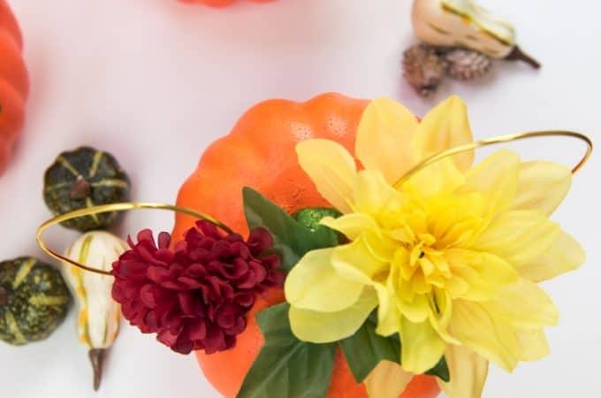 Creative + Cheap Floral Mickey Ears Pumpkin