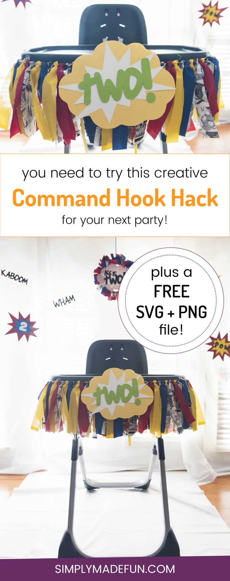 Command Hook Hack - I love hanging banners and garlands for kids parties but could never get them to stay up. This simple hack will save you time + frustration and will keep your banners looking great all day long!