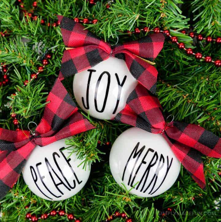 Rae Dunn Inspired Christmas Ornaments + a Perfect Bow Tutorial