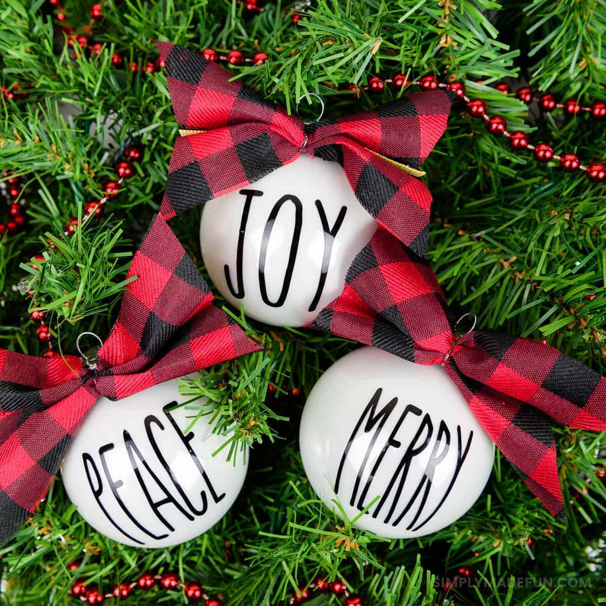 Rae Dunn Inspired Christmas Ornaments + a Perfect Bow ...
