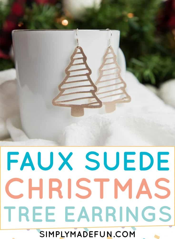 Easily cut faux suede material with your Silhouette Cameo machine to make these Christmas tree earrings! Learn what cut settings work best on faux leather and how to get your Silhouette blade to cut through the material the first time. Then download the free SVG template to make your own! This is an easy DIY tutorial and is the perfect how to craft for beginners. | simplymadefun.com #fauxleatherearrings #fauxleather #diyearrings #diyjewelry