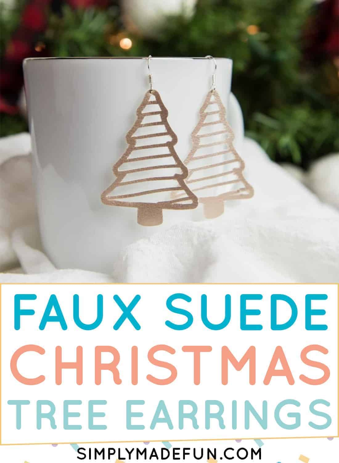 Faux suede Christmas Tree Earrings
